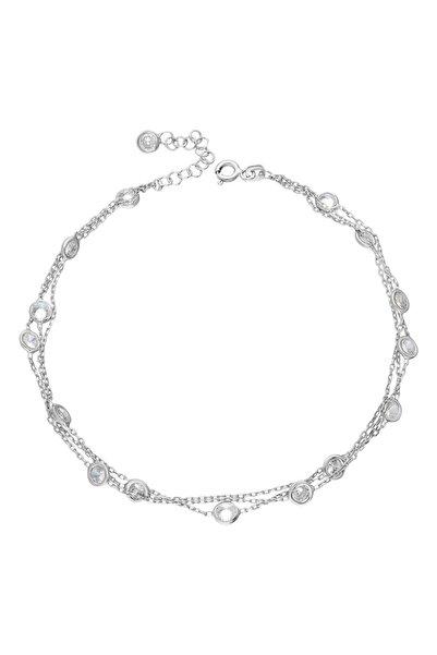 Chavin Rose Tiffany 3 Sıra Taşlı Gümüş Halhal Eg76by