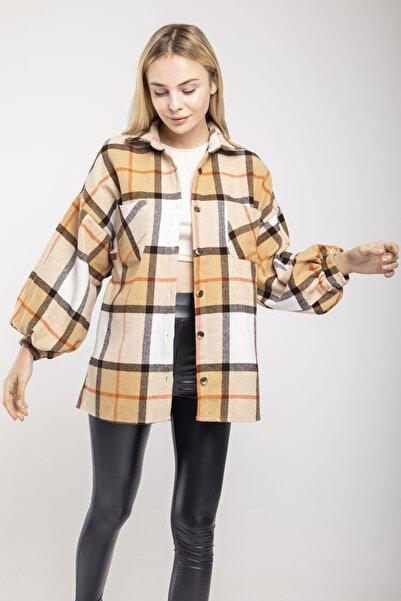 MD trend Kadın Sütlü Kahve Balon Kol Ekose Oversize Ceket Gömlek