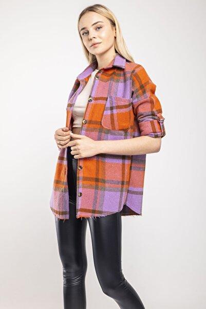 MD trend Kadın Turuncu Ekose Oversize Oduncu Ceket Gömlek