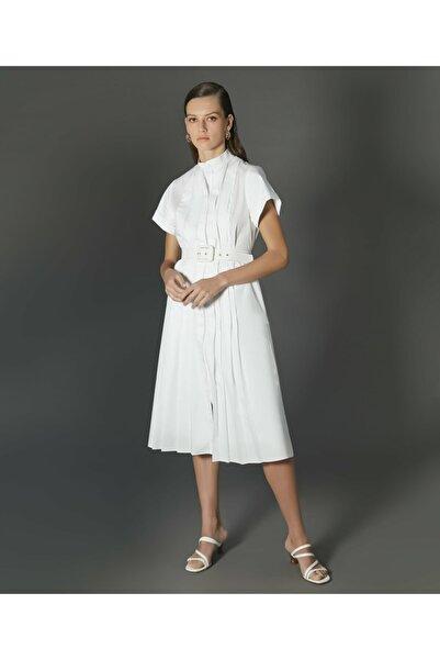 İpekyol Kadın Beyaz Kemerli Gömlek Elbise