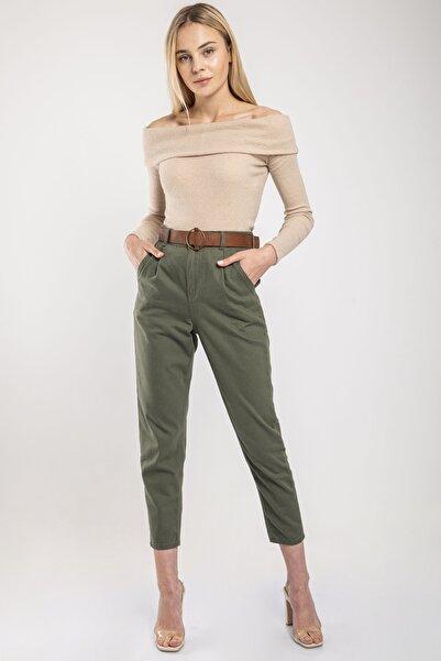 MD trend Kadın Haki Bel Lastikli Kemerli Gabardin Pantolon
