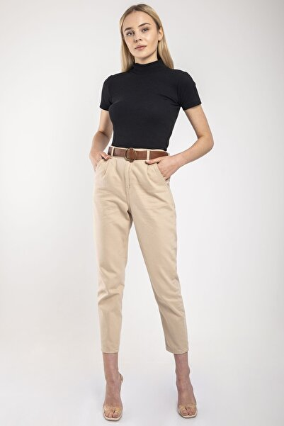 MD trend Kadın Bej Bel Lastikli Kemerli Gabardin Pantolon