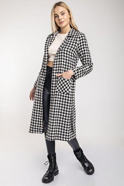 MD trend Kadın Kaz Ayağı Cepli Beli Kuşaklı Oversize Uzun Ceket