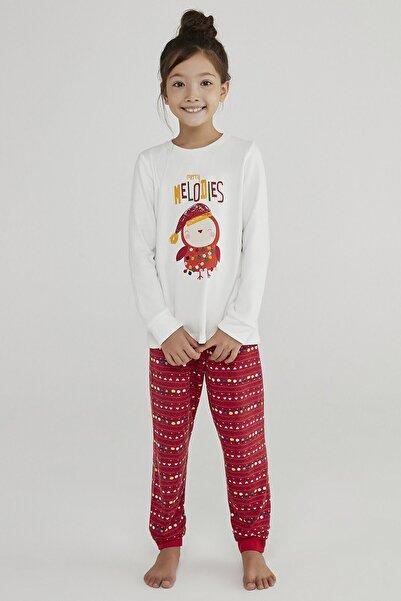 Penti Beyaz Kırmızı Kız Çocuk Termal 2li Pijama Takımı