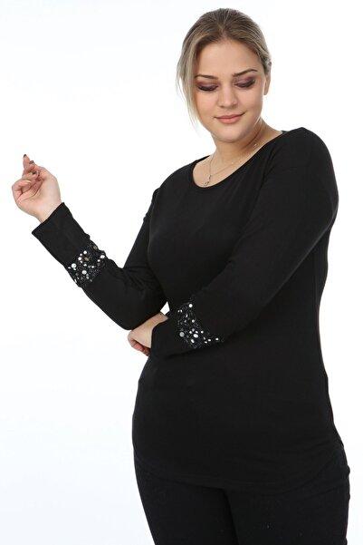 Womenice Kadın Siyah Kol Ucu Tüllü Pullu Büyük Beden Bluz