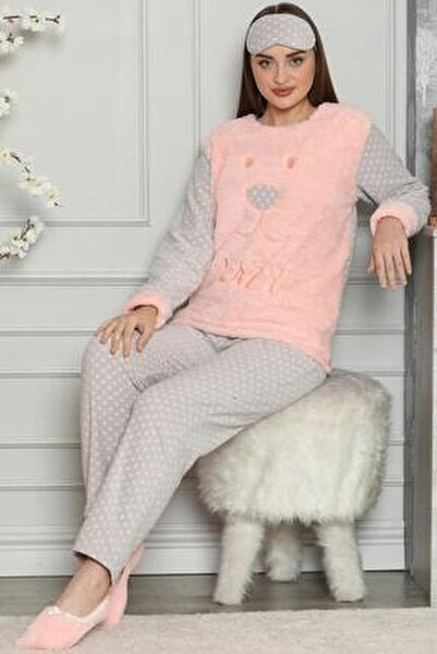 Kadın Somon Somon Lazy Desenli Kadın Peluş Pijama Takımı