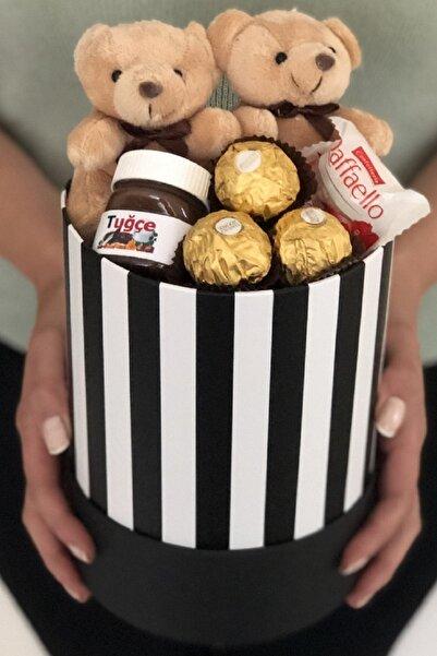 1kutuhediye Siyah Beyaz Kutuda Ayıcık Kişiye Özel Nutella Ve Çikolatalar