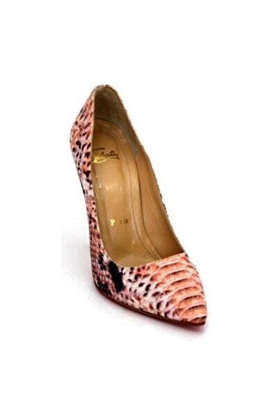 Karnaval Ayakkabı Kadın Turuncu Çok Renkli Hakiki Deri Stiletto Topuklu Ayakkabı