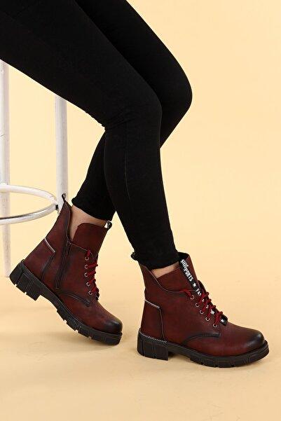 Ayakland Kadın Bordo Cilt Termo Taban Fermuarlı Bot Ayakkabı Ymr 910