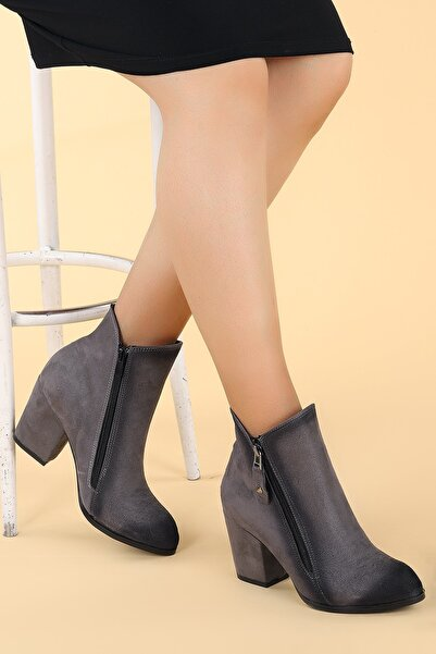 Ayakland Kadın Gri Süet Topuk Termo Bot Ayakkabı