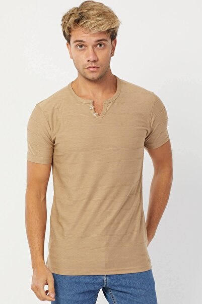 Karpefingo Erkek Y Yaka Kahve T-Shirt