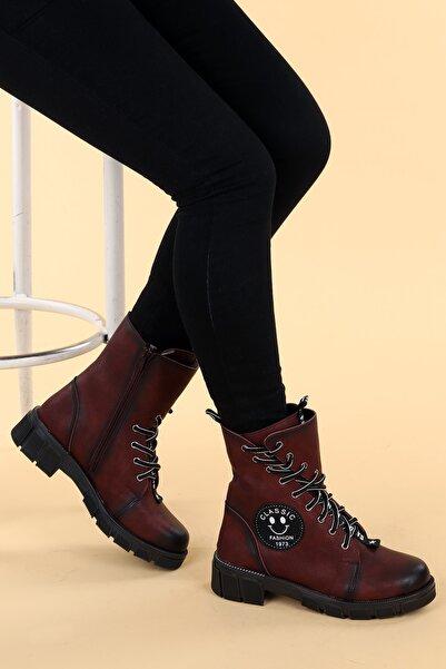 Ayakland Kadın Bordo Cilt Termo Taban Fermuarlı Bot Ayakkabı