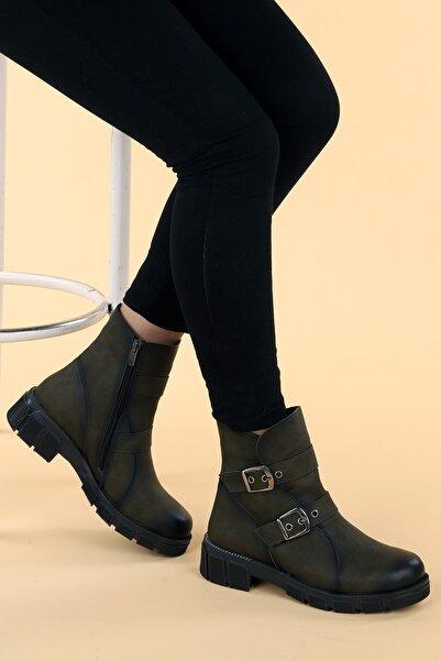Ayakland Kadın Haki Cilt Termo Taban Fermuarlı Bot Ayakkabı