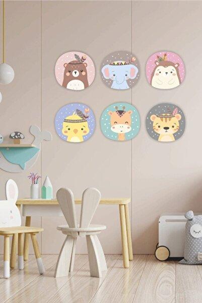 Babyroom Renkli Scandinavian Duvar Dekor 6'lı Set