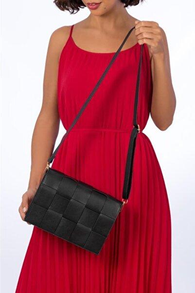 ESPARDİLE Kadın Siyah Kare Desenli Omuz Çantası