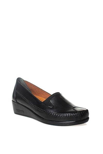 PRESTIJ Kadın Siyah Hakiki Deri Full Ortapedik Klasik Ayakkabı