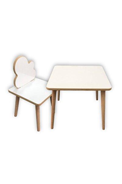 Makeart Baby Kız Erkek Çocuk Beyaz  Masa Sandalye Takımı