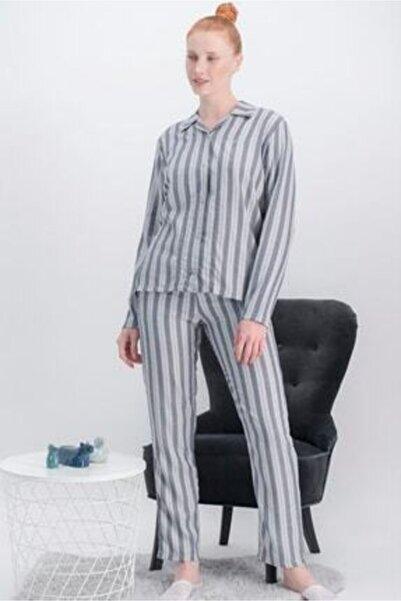 Arnetta Kadın Gri Çizgili Gömlekli Pijama Takımı Ar-360-cag-1