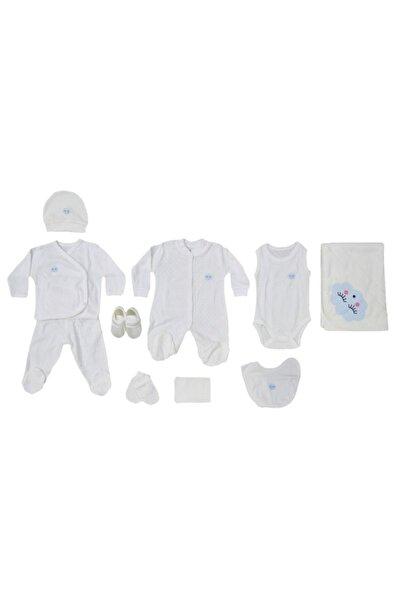 Eda Baby Unisex Bebek Ekru Transfer Bulutlu 10 Lu Set