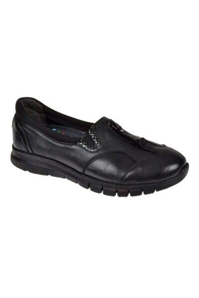 Forelli Kadın Siyah Hakiki Deri  Comfort Ayakkabı F-29444