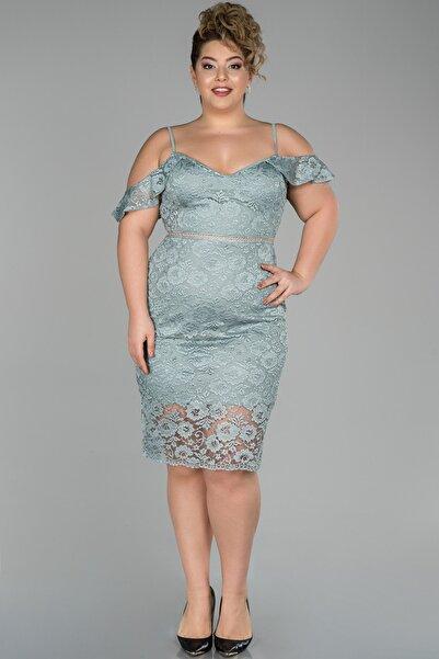 Abiyefon Mint Kısa Omuz Dekolteli Güpür Detaylı Büyük Beden Abiye Elbise Abk890