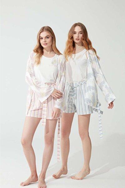 Feyza Pijama Kadın Mavi Şortlu Sabahlıklı Üçlü Takım