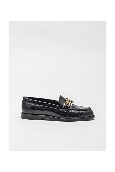 Elle Shoes Siyah Deri Kadın Loafer