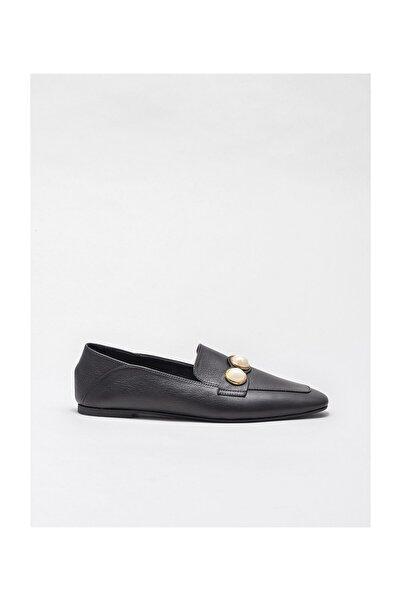 Elle Shoes Siyah Deri Kadın Oxford