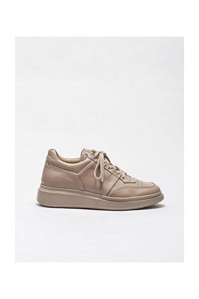 Elle Shoes Bej Deri Erkek Spor Ayakkabı