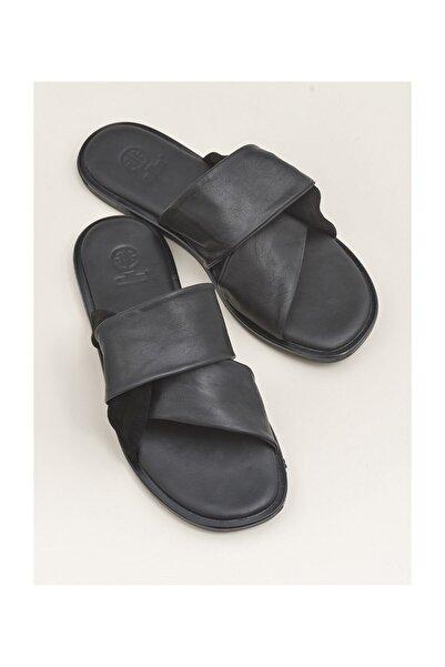 Elle Shoes DARIYEL Hakiki Deri Siyah Kadın Terlik 20YLT102061