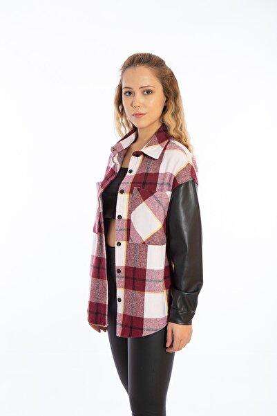 EMALLIA Kadın Bordo Deri Kol Oduncu Gömlek