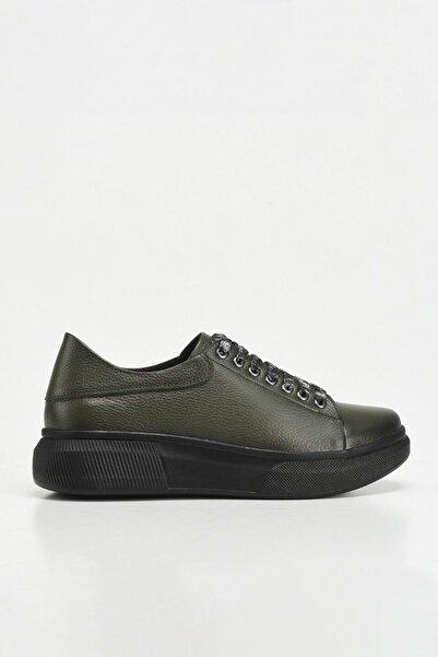 Hotiç Hakiki Deri Haki Yaya Kadın Günlük Ayakkabı