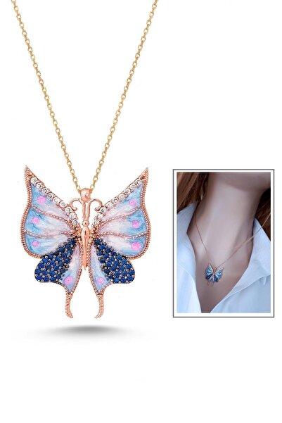 Rams Gümüş Kadın Mavi Kelebek Etkisi Kolye RGK30418