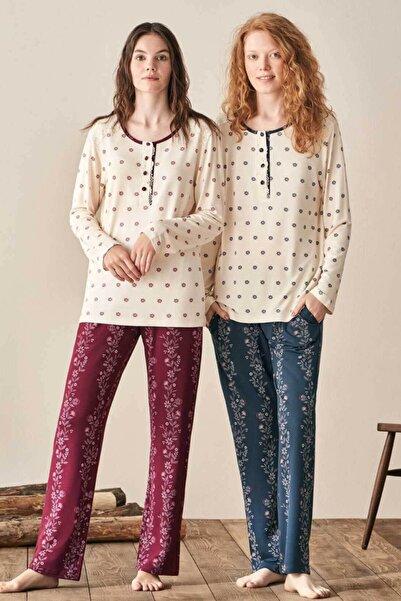 Feyza Pijama Kadın Bordo Uzun Kol Büyük Beden Pijama Takım
