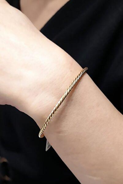 Ariş Pırlanta Kadın 14 Ayar Altın Kelepçe Bileklik