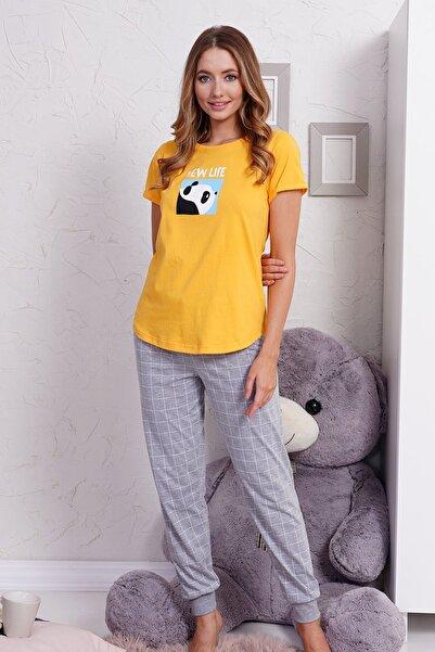 VİENETTA Kadın Sarı Örme Kısa Kol Pijama Takımı