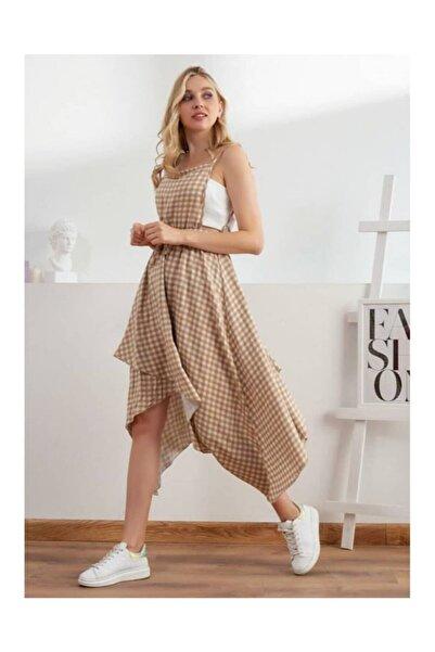 BEBE PLUS Kadın Bej Ekose Sırt Detaylı Elbise
