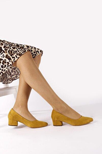 Moda Eleysa Kadın Hardal Kısa Kalın Topuklu Ayakkabı