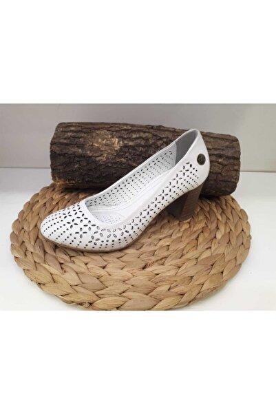Mammamia Kadın Beyaz Hakiki Deri Kalın Topuklu Ayakkabı D19ya-200