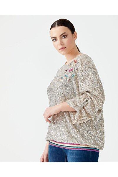 SEÇİL Kadın Bej Renk Büyük Beden Işıltılı Bluz