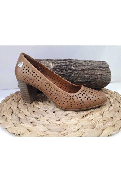 Mammamia Kadın Taba Hakiki Deri Orta Topuklu Ayakkabı D19ya-200