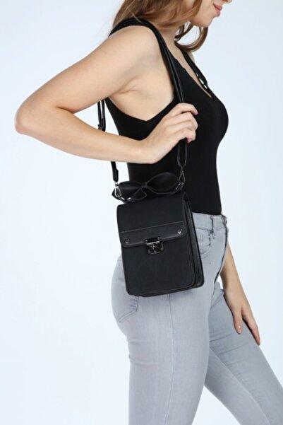 RAKKOO Kadın Siyah Suni Deri Çapraz Kutu Model Çanta 20/15cm