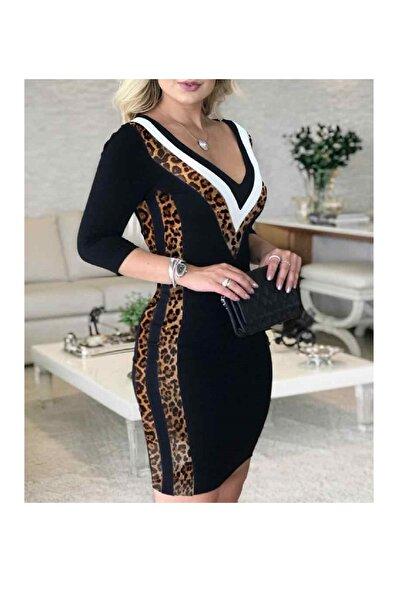 Modayakamoz Kadın Siyah Leopar Garnili Elbise