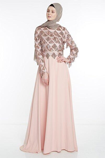 Nihan Pullu Dandelli Abiye Elbise-pudra X5209