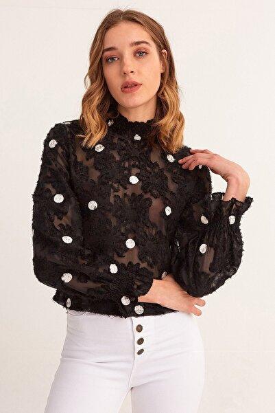 Fulla Moda Kadın Siyah Puantiyeli Tül Bluz