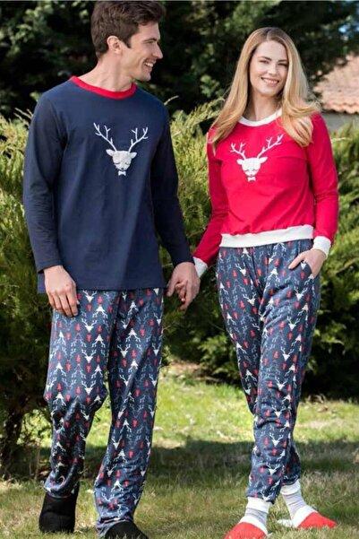 Yeni İnci Unisex Kırmızı Eşli Kombini Pijama Takım