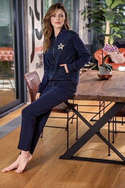 Anıl Kadın Lacivert Fermuarlı Sweatshirt Pantolon Takım 9635