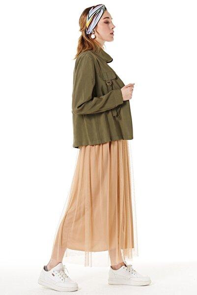 Nihan Kadın Haki Fermuarlı Ceket