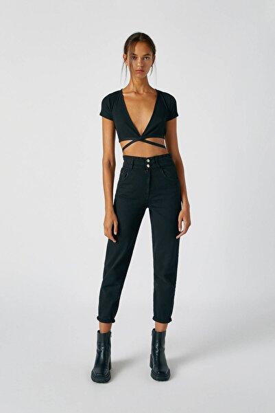 Pull & Bear Kadın Siyah Geniş Elastik Belli Slouchy Jean 05670342