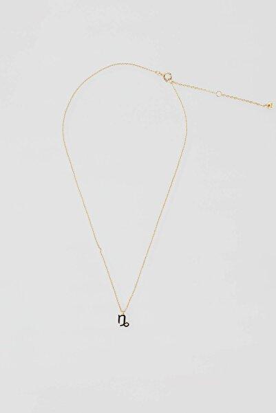 Pull & Bear Kadın Altın Rengi Metal Oğlak Burcu Kolye 04991312